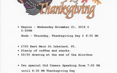 Thanksgiving Alcothon Wed, Nov 21 @ 5pm